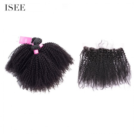 ISEE HAIR 9A Grade 100% Human Virgin Hair Afro Curly Bundles with Frontal Deal