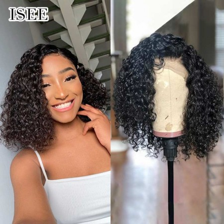 Short Kinky Curly 13*4 Bob Wigs with Bouncy Curls 100% Human Hair Curly Bob Lace Front Wigs   ISEE HAIR