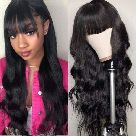 ISEEHAIR Machine Made Sew In Wig with Bangs Human Hair Body Wave Wigs Natural Color For Women Glueless Wigs