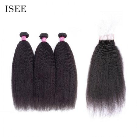 ISEE HAIR 9A Grade Mongolian Kinky Straight 3 Bundles with Closure Deal 100% Human Virgin Hair unprocessed