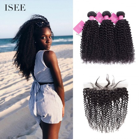 ISEE HAIR Kinky Curly Bundles with Frontal 9A Grade 100% Human Virgin Hair unprocessed