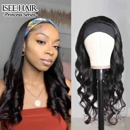 ISEEHAIR Body Wave Headband Wig Human Hair Glueless Wig For Black Women
