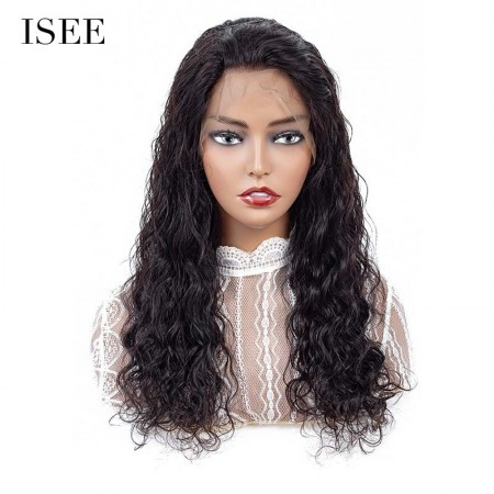 ISEE HAIR Natural Wave Lace Front Wig,Pre Plucked Natural Hair Liner, 100% Human Virgin Hair Wigs