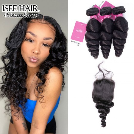 ISEE HAIR Loose Wave Bundles with Closure Deal 9A Grade 100% Human Virgin Hair
