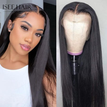 ISEE Hair Crown Series Silky Straight HD Lace Front Wig 100% Human Hair Melt Lace Wig Pre Plucked Natural Hairline
