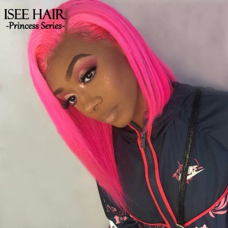 Bob Lace Front Wig, #Pink Straight Hair 130% Density Bob Lace Frontal Wigs | ISEE HAIR