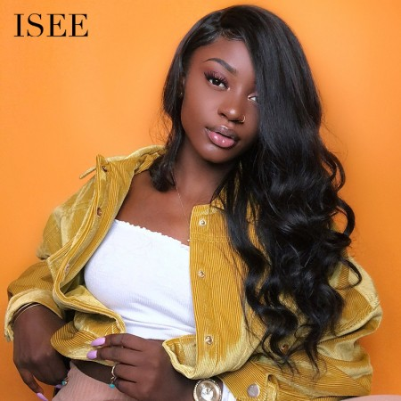 ISEE HAIR Body Wave Lace Frontal Wigs 100% Gorgeous Human Virgin Hair Wigs