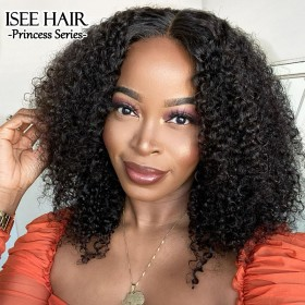 ISEE HAIR New Arrival Kinky Curly Lace Closure Wig Real Human Hair Glueless Wigs