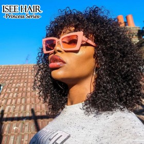 ISEEHAIR Machine Made Wig Kinky Curly Sew In Wig Human Hair Wigs with Bangs