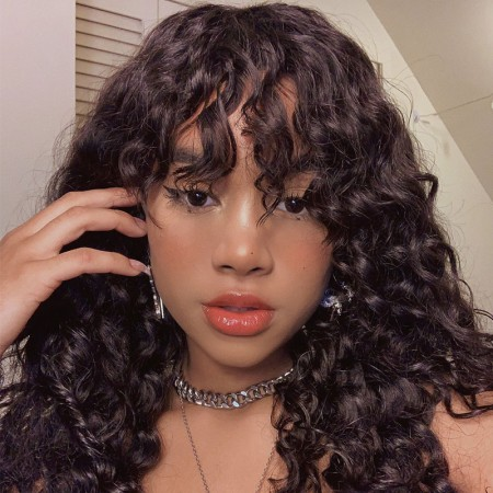 ISEEHAIR Machine Made Water Wave Sew In Wig with Bangs
