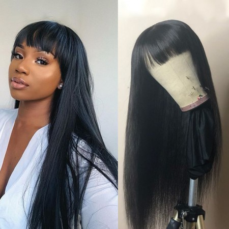ISEEHAIR Machine Made Sew In Wig Human Hair Straight Wig With Bangs Natural Color For Women Glueless Wigs