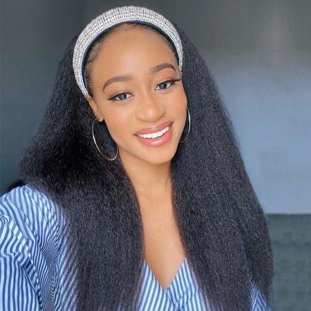 ISEEHAIR Yaki Straight Headband Wig Human Hair Glueless Kinky Straight Natural Wig For Black Women
