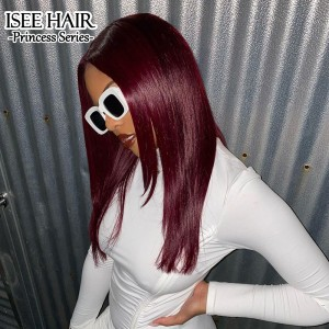Burgundy Human Hair Wig with Natural Hairline, 99J Straight Lace Front Wig for Black Women | ISEE HAIR
