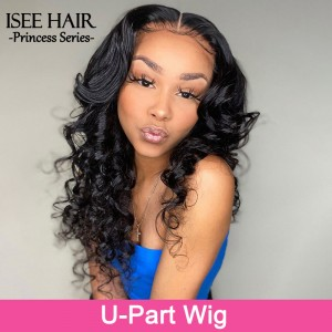 ISEE HAIR New Arrival Upart Wig , Natural Black Loose Wave Wigs