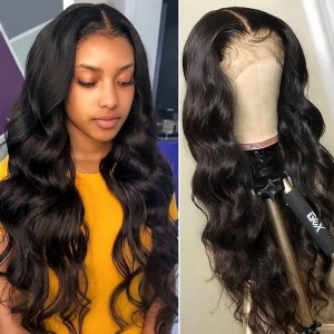 ISEE HAIR Body Wave Lace Front Wig,Pre Plucked Natural Hair Liner, 100% Human Virgin Hair Wigs