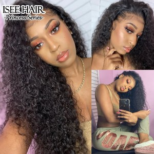 ISEEHAIR Water Wave Tpart Wig Human Hair Natural Black Color Lace Part Wig with Natural Hairline