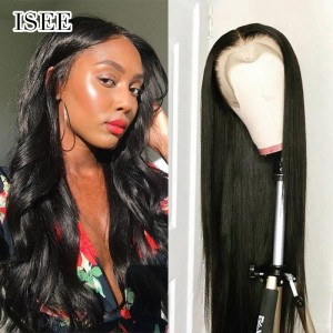 ISEE HAIR Straight Hair Full Lace Wig,Pre Plucked Natural Hair Liner with Baby Hair, 100% Human Virgin Hair Wigs