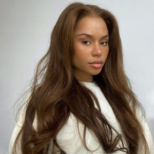 ISEEHAIR #6 Brown Color Lace Front Wig Silky Straight Human Hair Wigs