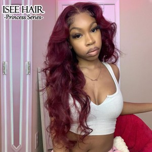 Burgundy 99J Body Wave Lace Front Wig For Black Women, Red Human Hair Wig With Natural Hairline,  | ISEE HAIR