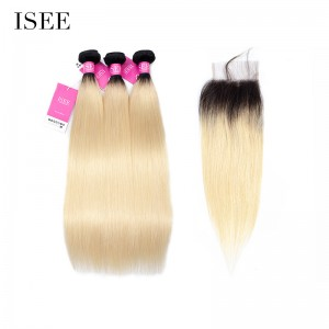 Ombre Color 1B/613 ISEE Human Virgin Hair Extension Straight 3 or 4 Bundles With 4X4 Lace Closure