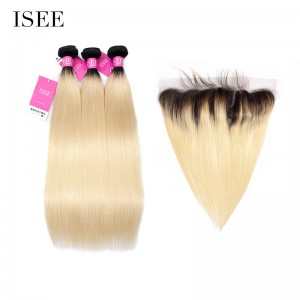 ISEE HAIR Color 1B/613 Ombre Blonde Human Virgin Hair Straight 13*4 Lace Frontal with 3 or 4 Bundles per pack