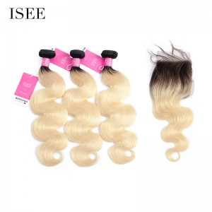 Ombre Color 1B/613 ISEE Hair Human Virgin Hair Body Wave 3 or 4 Bundles With 4X4 Lace Closure