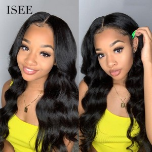 ISEE 150% Density Lace Frontal Wig Body Wave, 100% Human Virgin Hair Body Wave