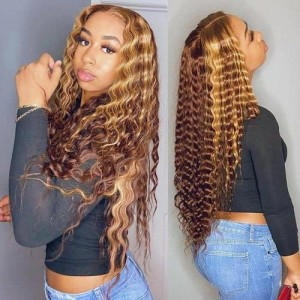 ISEEHAIR Highlight Deep Curly Lace Closure Wig TL4/12 Piano Color Wig Pre Plucked Transparent Lace