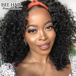 ISEEHAIR Kinky Curly Headband Wig Human Hair Glueless Wig For Black Women