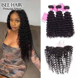 ISEE HAIR Deep Curly Bundles with Frontal 9A Grade 100% Human Virgin Hair Unprocessed
