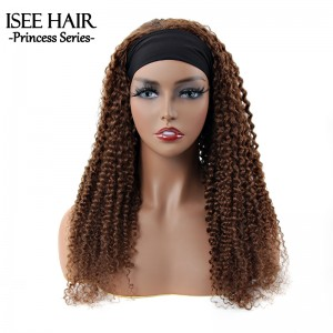 ISEE HAIR #4 Color Kinky Curly Headband Wig 100% Human Hair Color Wig