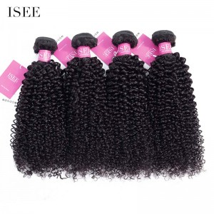 ISEE HAIR 9A Grade 100% Human Virgin Hair unprocessed Peruvian Kinky Curly 4 Bundles Deal