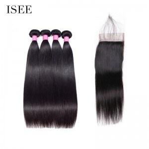 ISEE HAIR 10A Grade 100% Human Virgin Hair Straight Hair 4 Bundles with Closure Deal