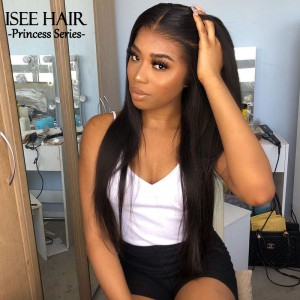 ISEEHAIR Transparent Frontal Lace Wigs Virgin Human Hair Pre-plucked Natural Hairline Invisible Lace for Straight & Curly Hair