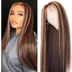 ISEEHAIR Highlight Wigs Brown and Blonde Silky Straight Lace Front Wig for Black Women