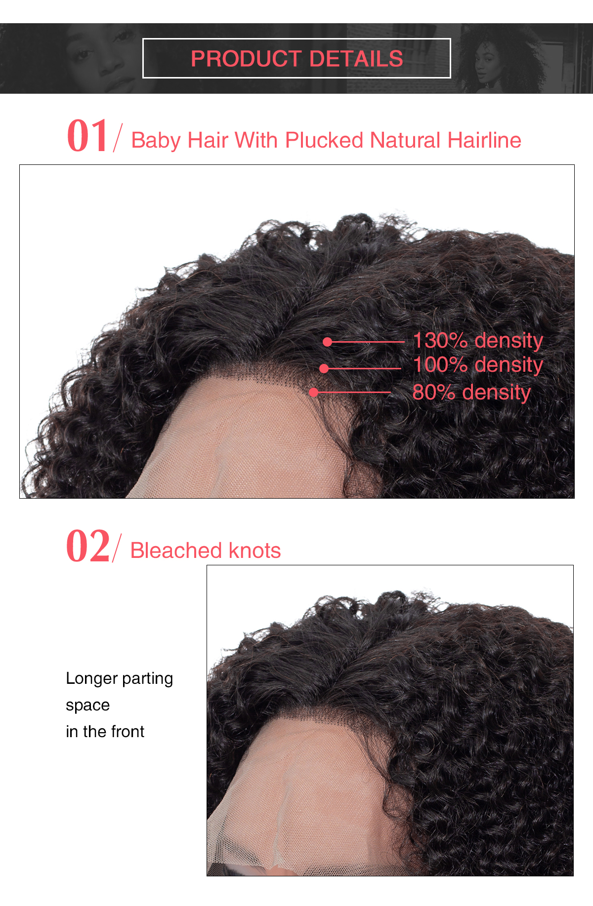 details about pre-plicked natural hair liner and parting for curly lace front wig