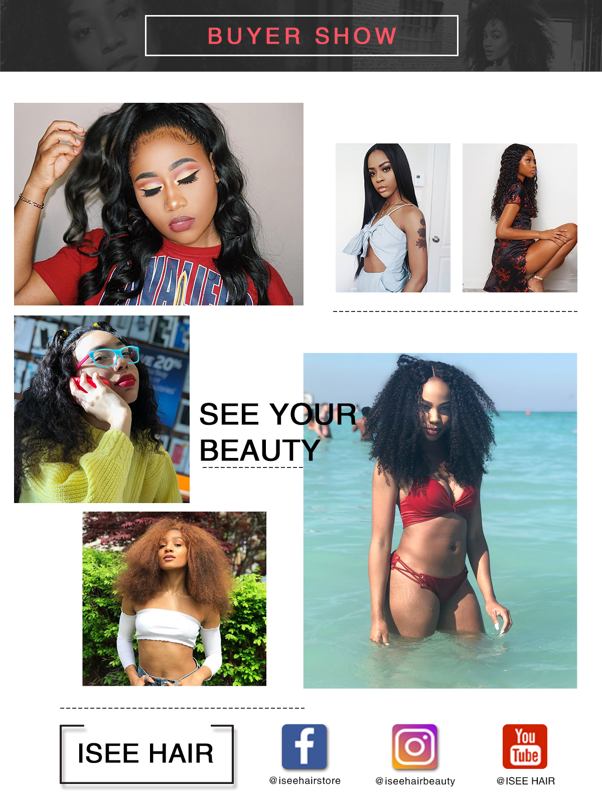 Buyer's show for ISEE Hair Brazilian body wave bundles, straight hair bundles, deep curly bundles with closure deal, kinky curly bundles deal